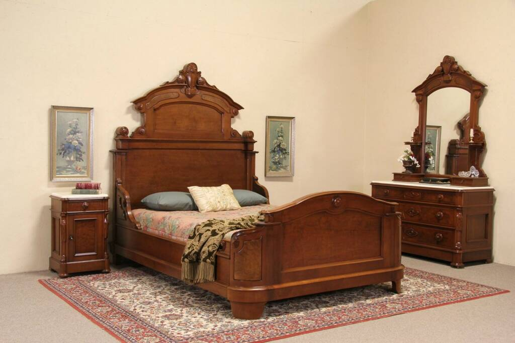 Sold Victorian 1870 Antique 3 Piece Queen Size Bedroom Set Marble Tops Harp Gallery Antique