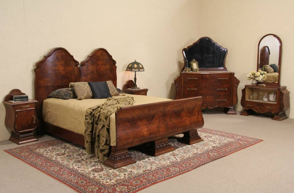 italian art deco 1925 queen size 5 pc bedroom set marble