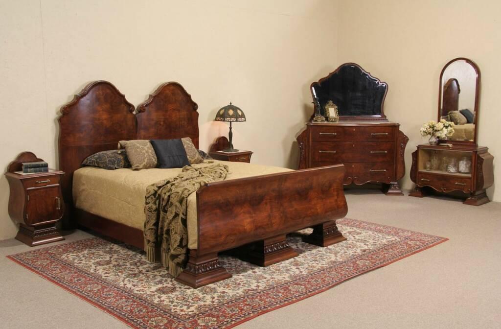 about italian art deco 1925 queen size 5 pc bedroom set marble tops