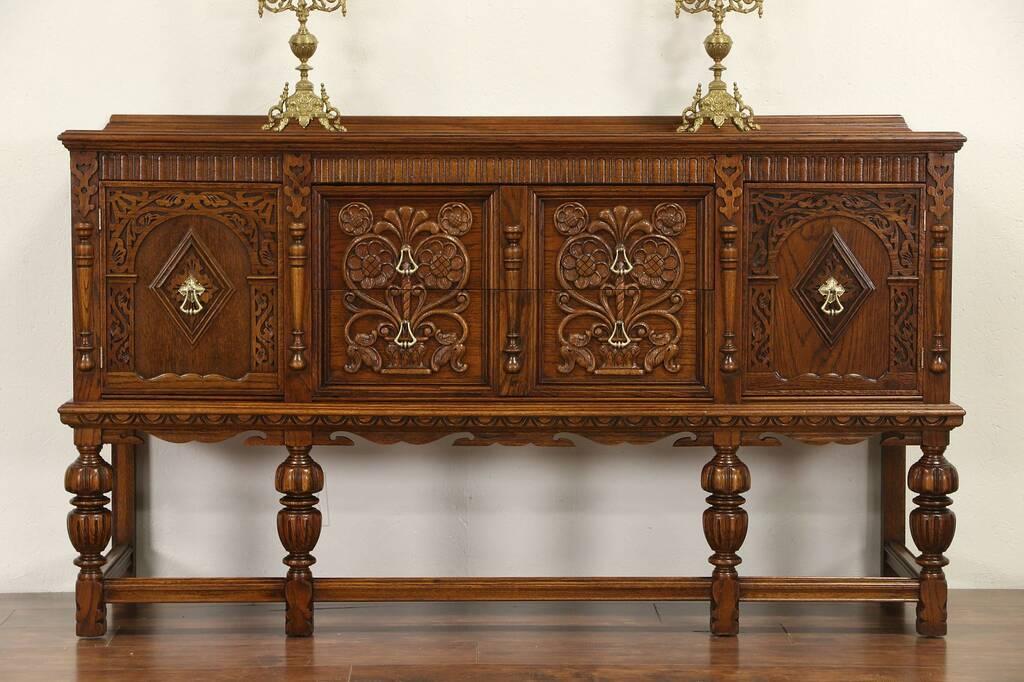 SOLD English Tudor 1920 Antique Carved Oak Sideboard