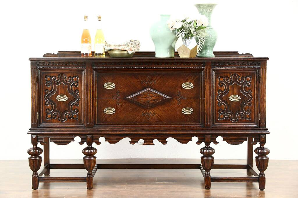 English Tudor 1920 Antique Carved Oak Sideboard Server Or