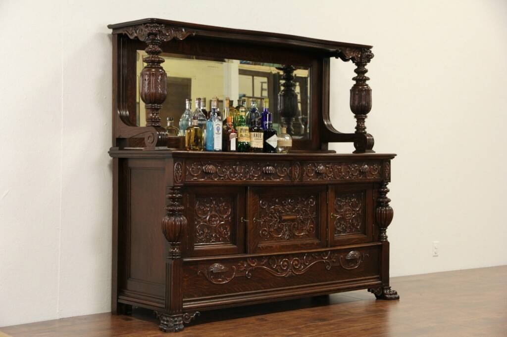 Sold Oak 1900 Antique Sideboard Server Or Back Bar