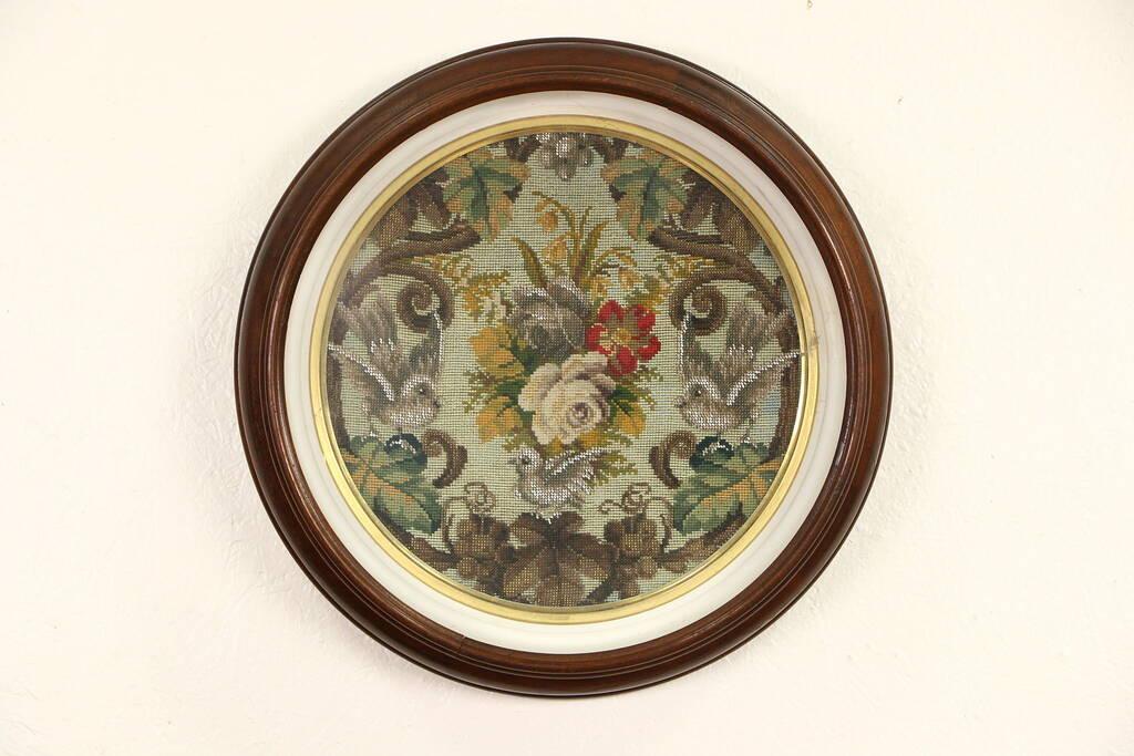 Sold Victorian 1850 S Round Walnut Shadow Box Picture