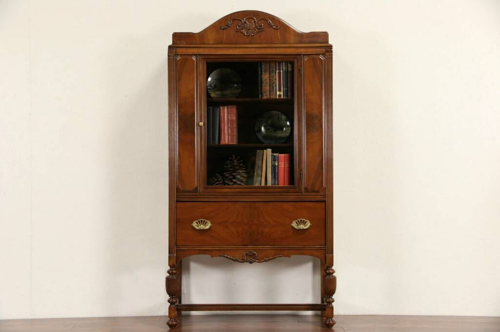 Sold Walnut 1930 S Vintage China Cabinet Or Bookcase