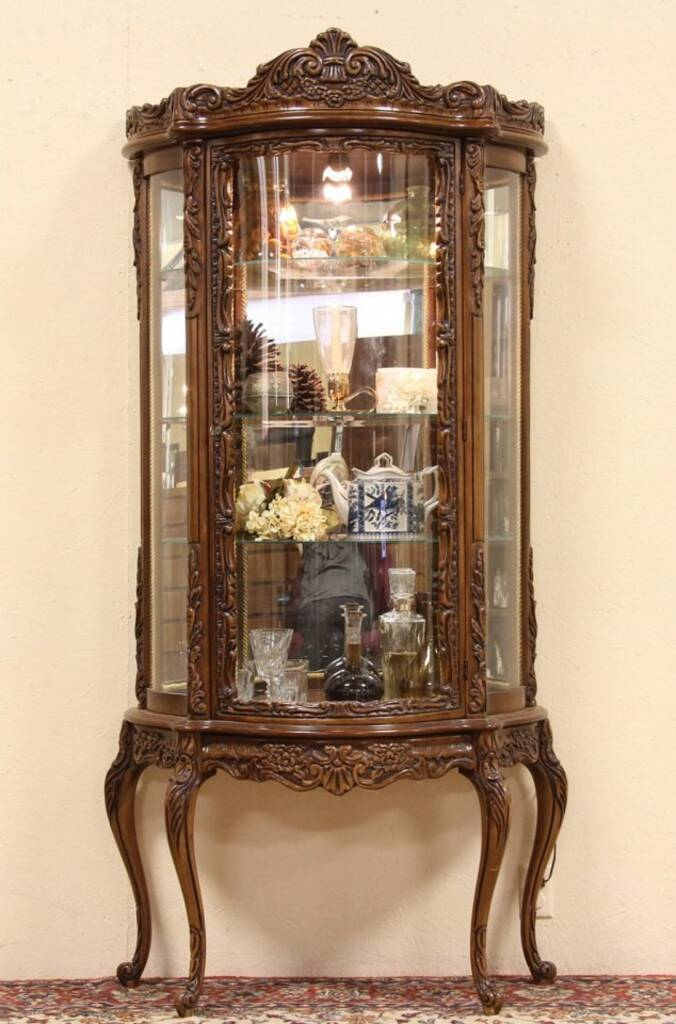 Sold Carved Fruitwood Curved Glass Curio Display Cabinet Harp Gallery Antique Furniture