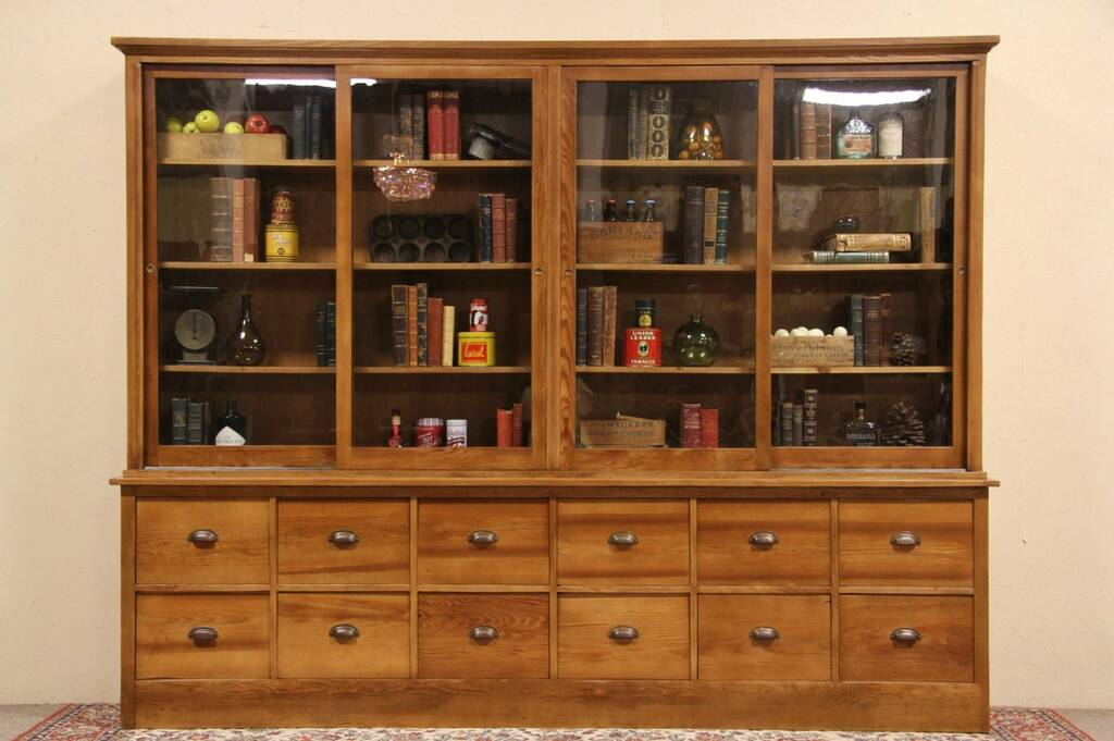 Country Pine Antique 1915 Pantry Or Store Display Cabinet Ebay