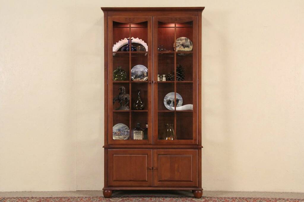 SOLD - Ethan Allen Lighted China or Curio Cabinet ...