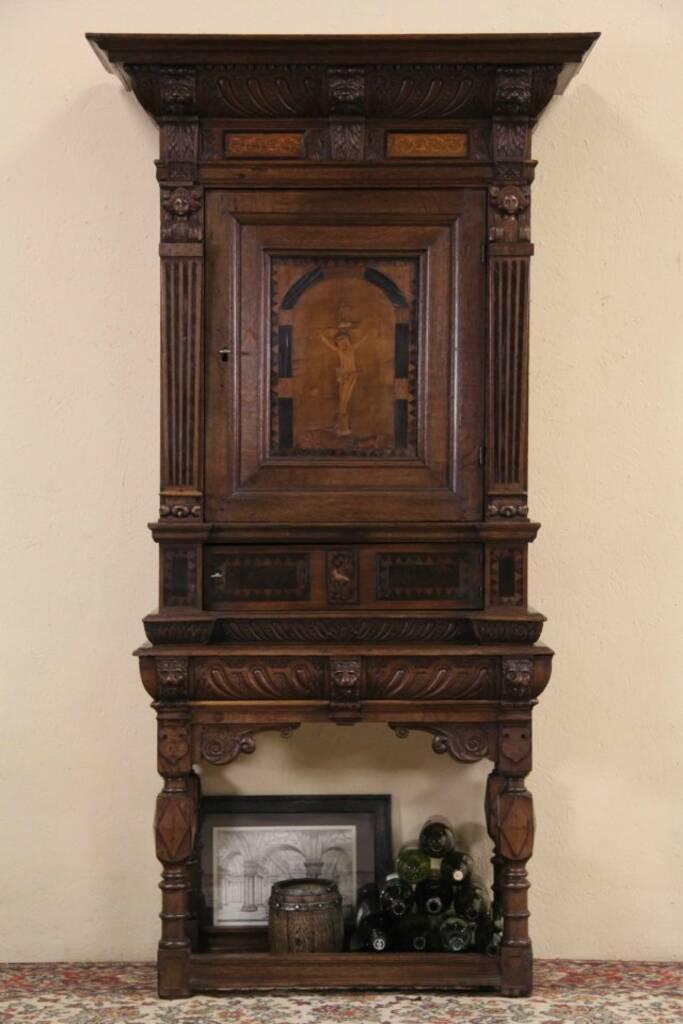 Sold Dutch 1700 S Antique Oak Amp Marquetry Crucifix