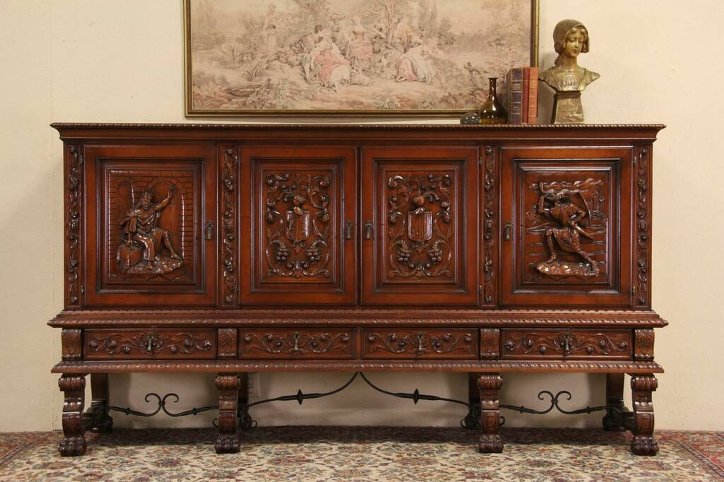 Sold Spanish Colonial Knight King Carved 8 39 Cabinet Harp Gallery Antique Furniture