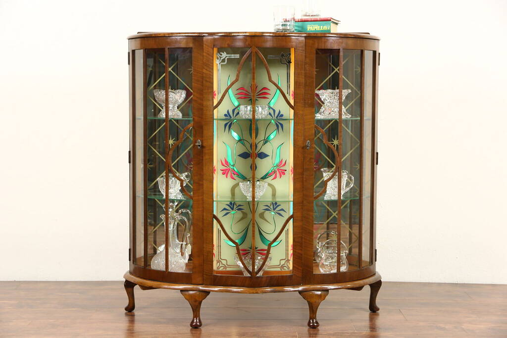 Sold English Art Deco 1930 39 S Vintage Curio Display Cabinet Stained Glass Light Harp Gallery