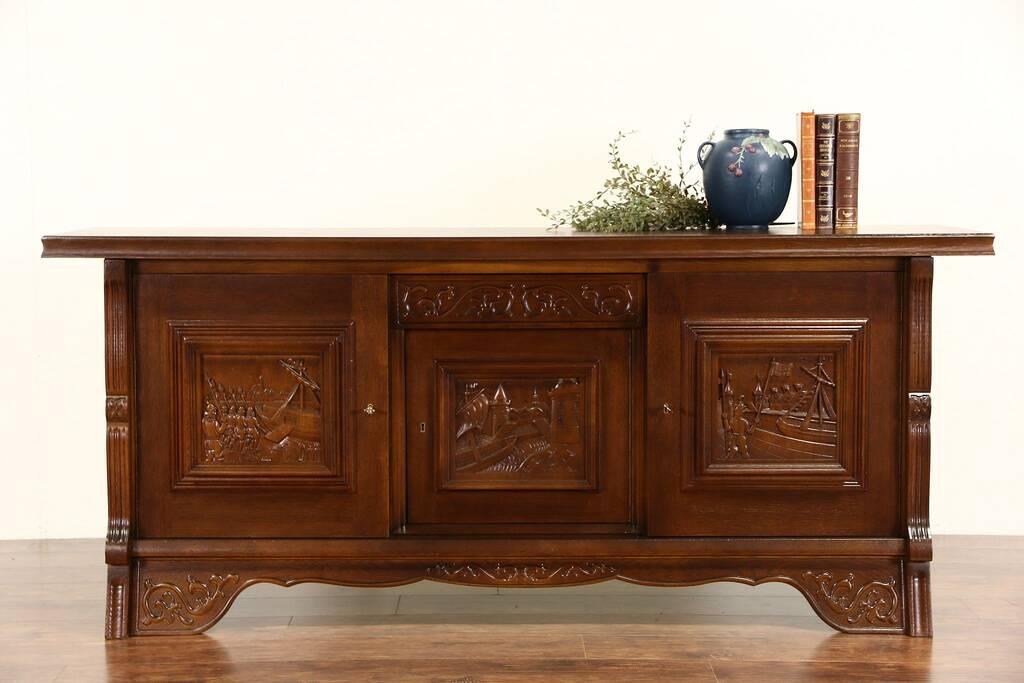 sold dutch sideboard credenza tv cabinet carved oak nautical scenes 1930 vintage harp. Black Bedroom Furniture Sets. Home Design Ideas