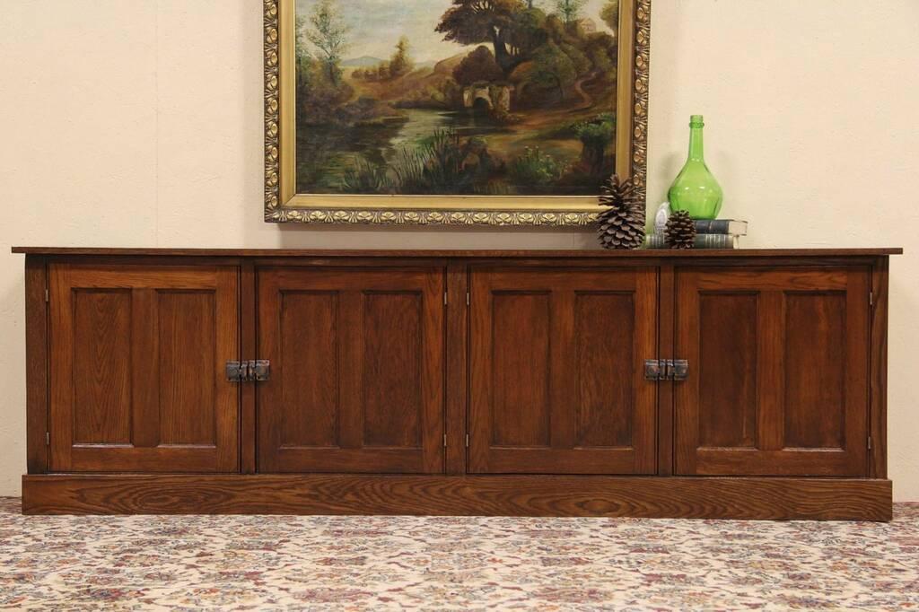 Arts & Crafts 1900 Oak Long Cabinet, Bookcase Or TV