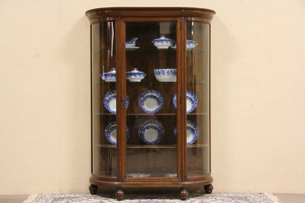 Curved Glass Oak 1900 Antique China Or Curio Display