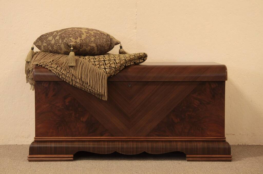 SOLD Art Deco Waterfall Cedar Chest Matched Mahogany Harp Gallery