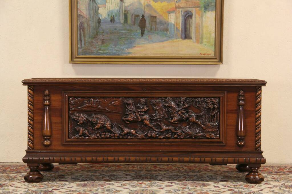 Sold Bench Or Cedar Chest Signed Carved Renaissance
