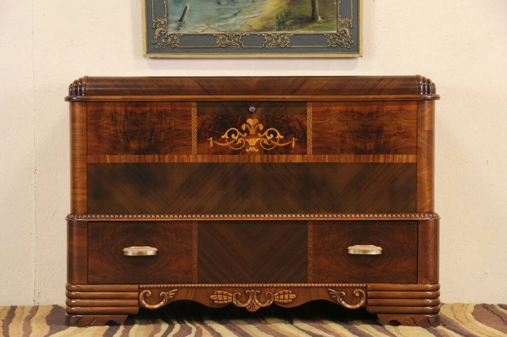 Sold Art Deco 1940 Vintage Waterfall Cedar Chest