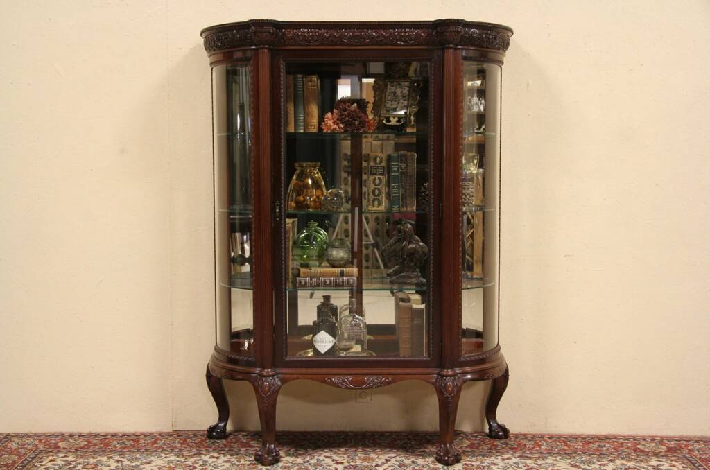 About Carved Mahogany  Curved Glass China Curio Display Cabinet
