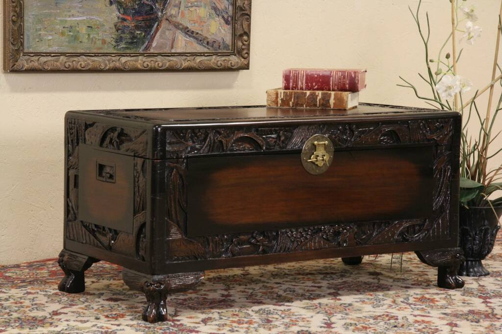 Sold Chinese 1930 S Vintage Carved Trunk Chest Or
