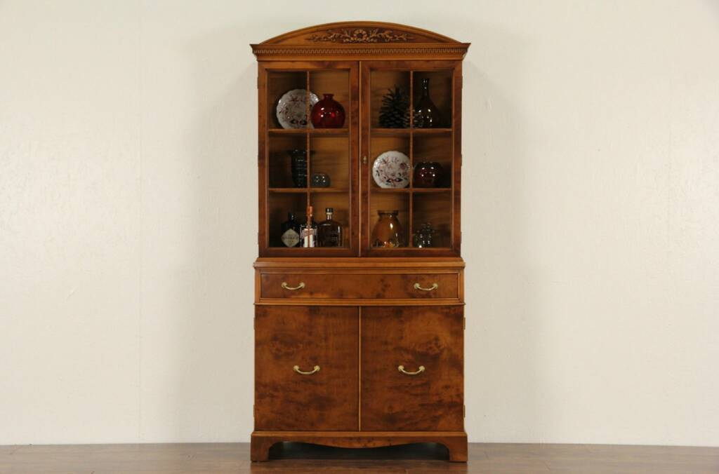 Sold Satinwood 1930 S Vintage Bowfront China Cabinet Or