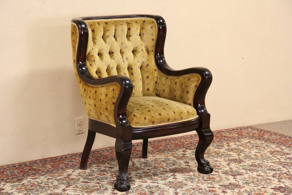 Sold Empire Antique 1903 Carved Chair Lion Paw Feet