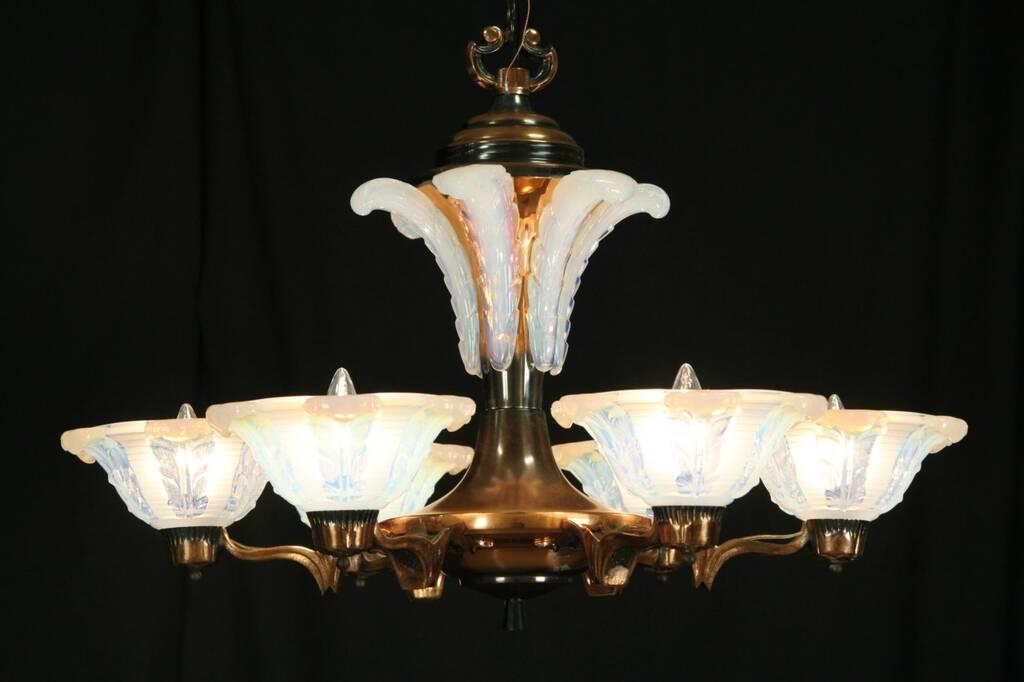 Sold French Art Deco 1925 Antique Copper Chandelier