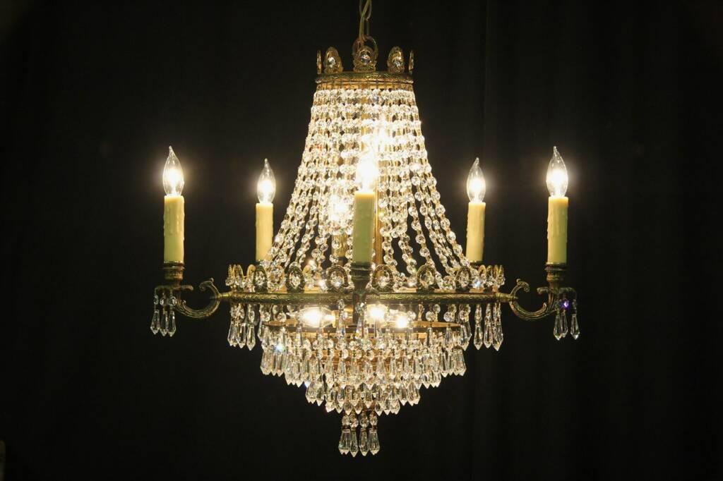 Sold Regency Brass Amp Strass Crystal Vintage Chandelier