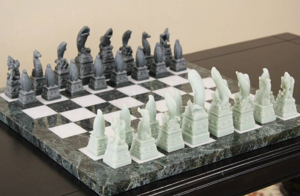 Sold Chess Game Vintage Set Marble Board Ocean Or Sea