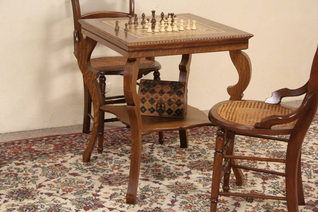 Sold Oak 1900 Antique Chess Or Checker Board Inlaid Game Table Harp Gallery Antique Furniture