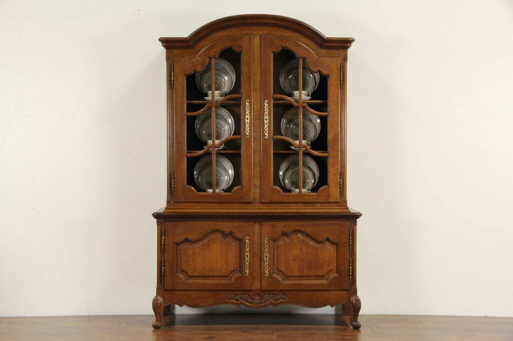 Sold Country French Carved Oak 1920 S China Cabinet Or