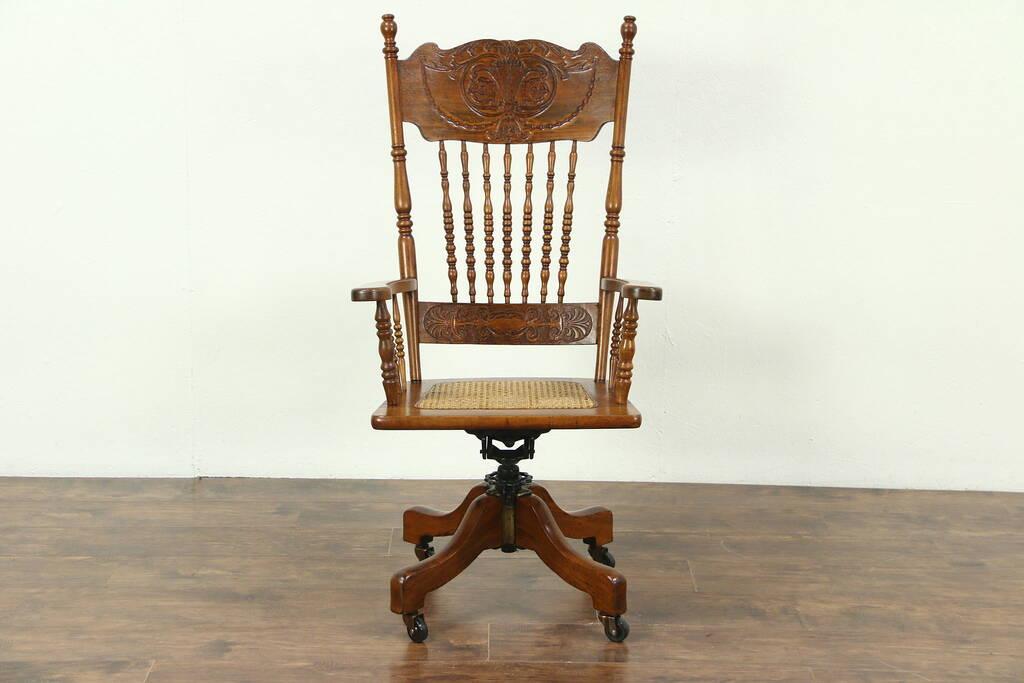 Victorian 1900 Antique Swivel Adjustable Desk Chair