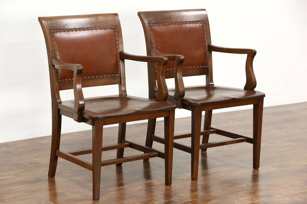 Marble Office Furniture ~ Sold pair walnut leather antique library or office