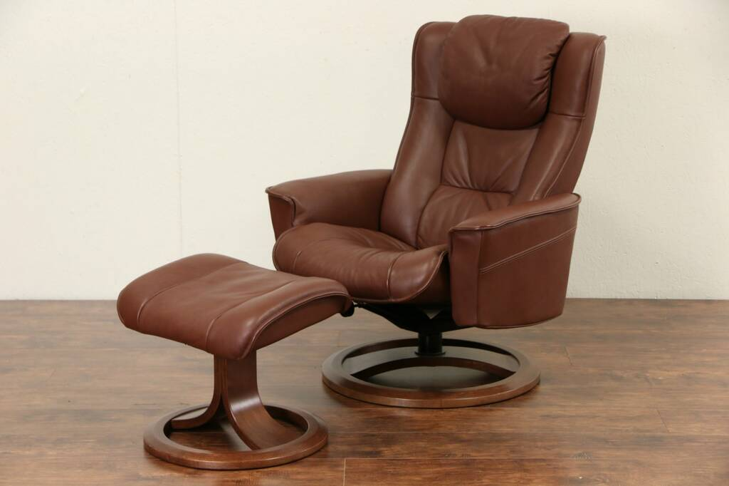 Sold Leather Chair Amp Swivel Stool Or Ottoman Set Int