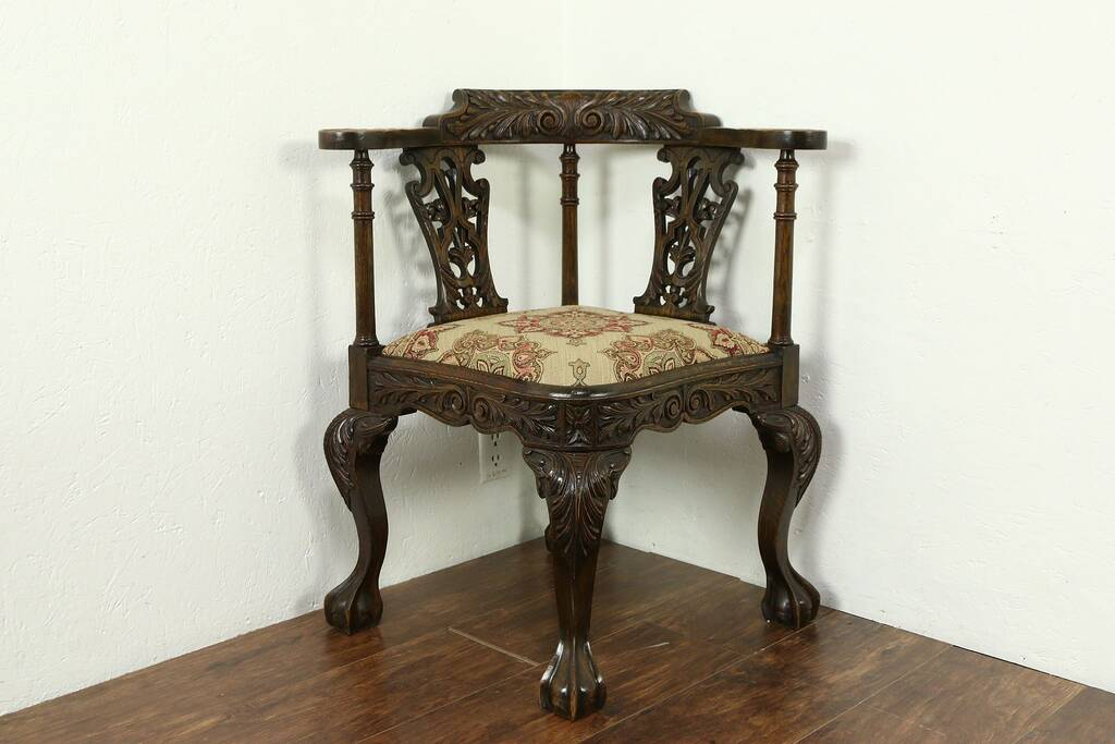 Sold English 1890 Antique Carved Oak Corner Chair Claw