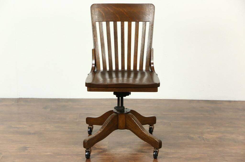 Sold Oak Swivel Adjustable Antique Desk Chair Signed Siebert Milwaukee Harp Gallery Antique
