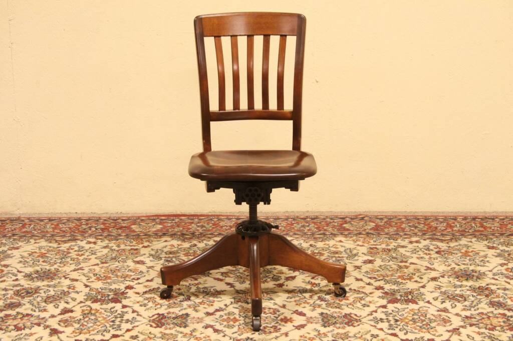 Sold Milwaukee 1914 Antique Adjustable Swivel Desk Chair Harp Gallery Antique Furniture