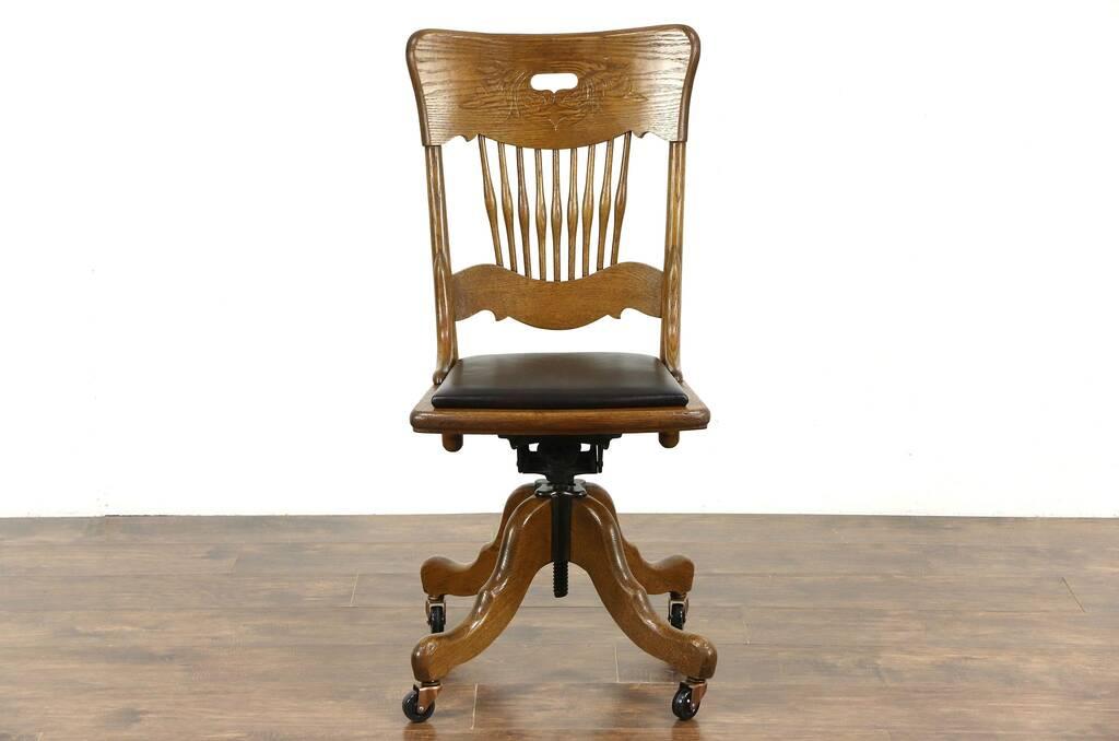 Sold Oak Swivel Adjustable Desk Chair Leather Seat