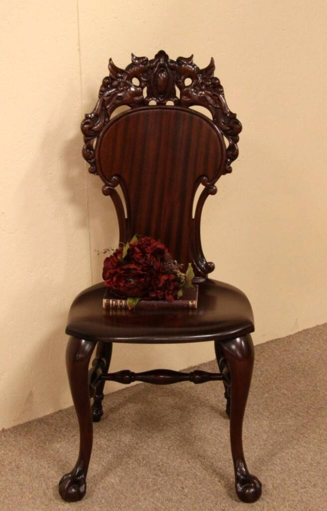 Sold Carved Victorian Gargoyle Or Dragon Chair Harp