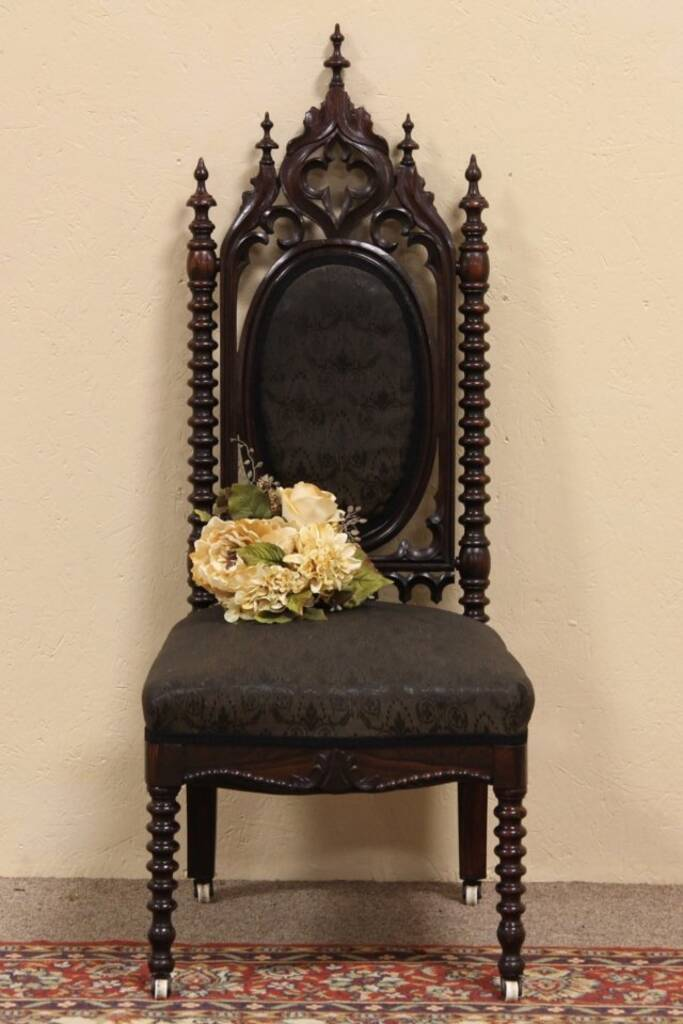 Sold victorian gothic antique horsehair chair harp for Victorian gothic chair