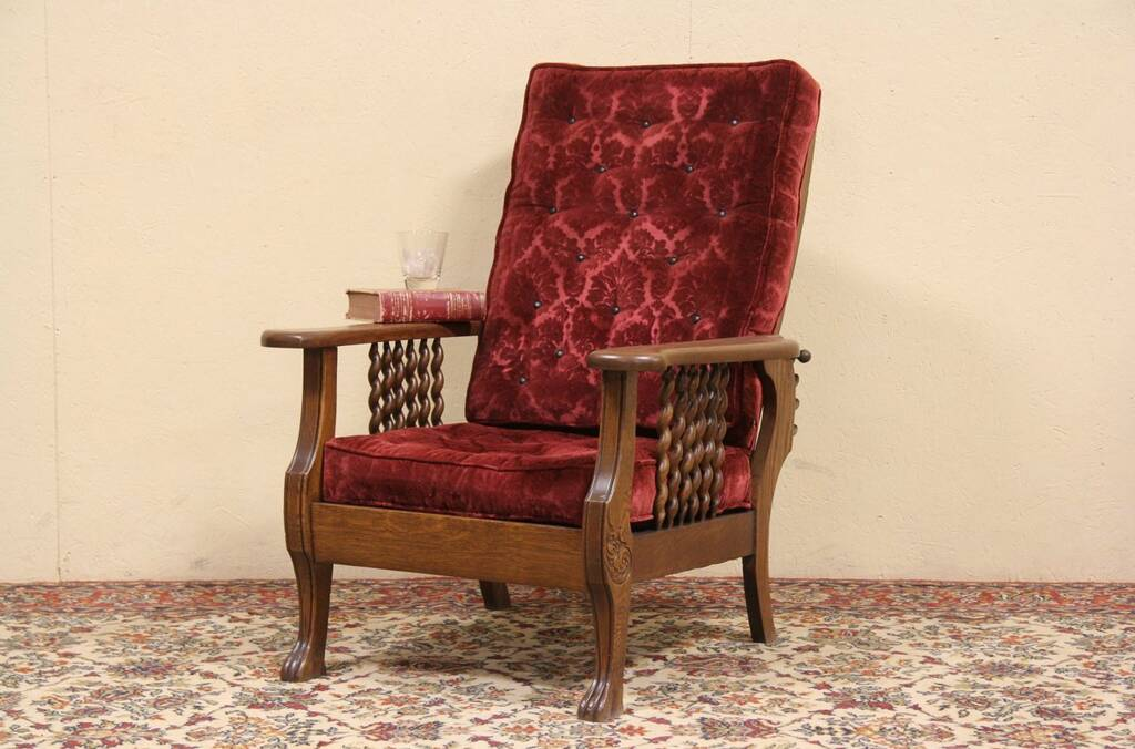 Sold Morris Adjustable Antique 1900 Oak Recliner Chair