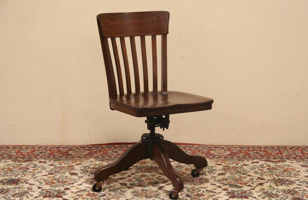 Sold Swivel Adjustable Pat 1914 Antique Oak Desk Chair
