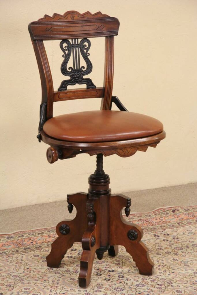 Sold Swivel 1880 Eastlake Antique Musician Chair Or