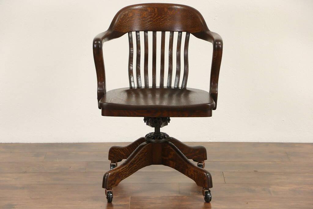 Sold Oak Swivel Adjustable Desk Chair Signed Milwaukee Pat 1914 Harp Gallery Antique Furniture