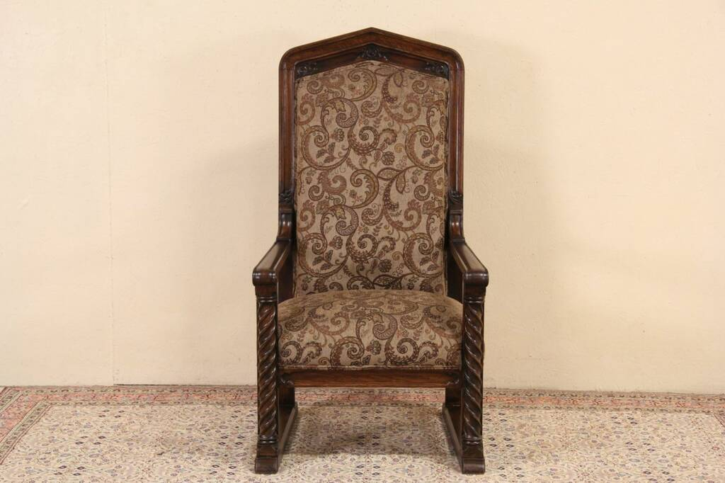 Sold Northwestern University 1900 Carved Oak Throne Or Hall Chair New Upholstery Harp