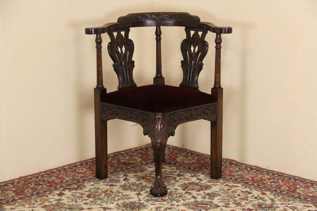 SOLD Carved Oak 1900 Antique English Corner Chair Harp  : 10241024cdchr4 13 14corn from www.harpgallery.com size 1024 x 682 jpeg 73kB