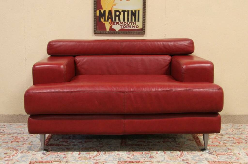 SOLD - Divani Italian Red Leather Vintage Wide Chair ...