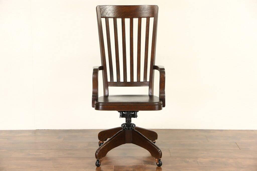 Sold Oak Antique 1900 High Back Swivel Adjustable