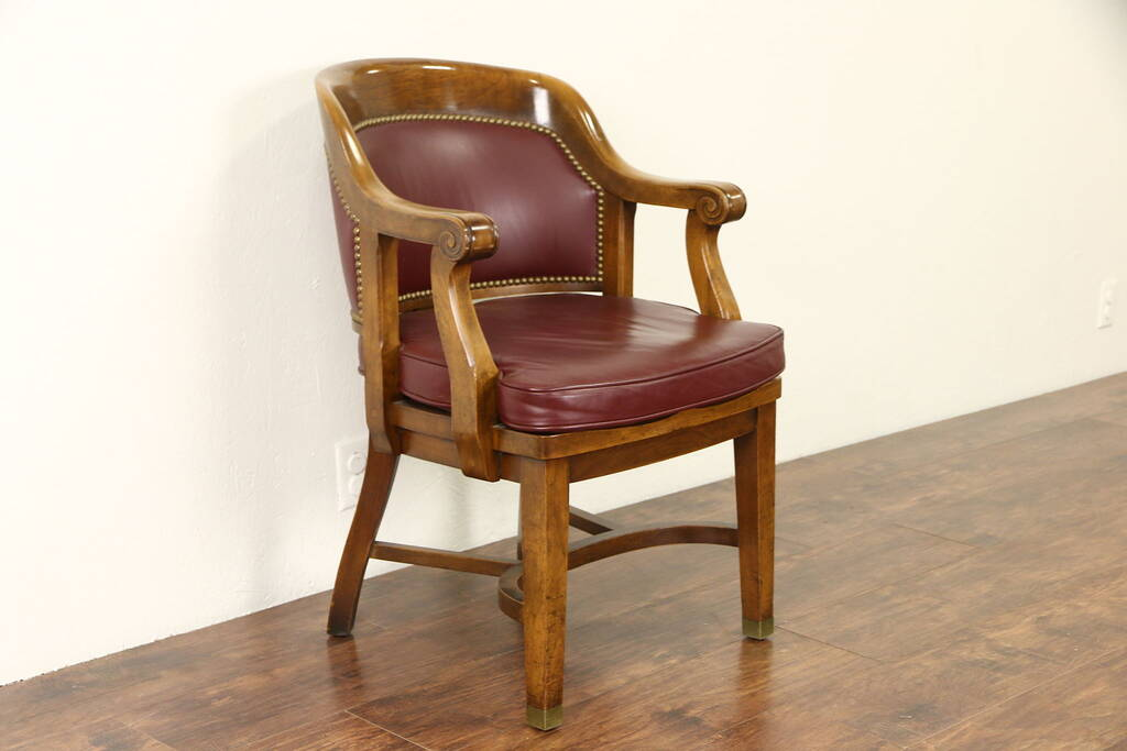 Sold Desk Chair 1930 39 S Vintage Walnut Faux Leather