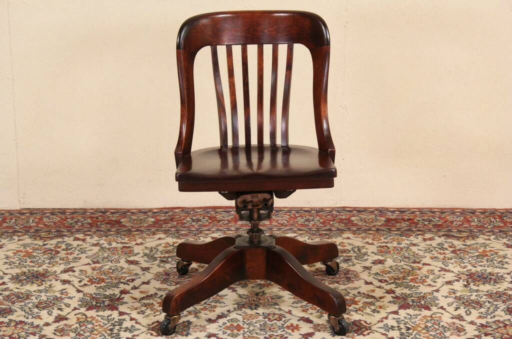 Sold Marble Amp Shattuck Signed Swivel Adjustable Antique 1915 Desk Chair Harp Gallery Antique