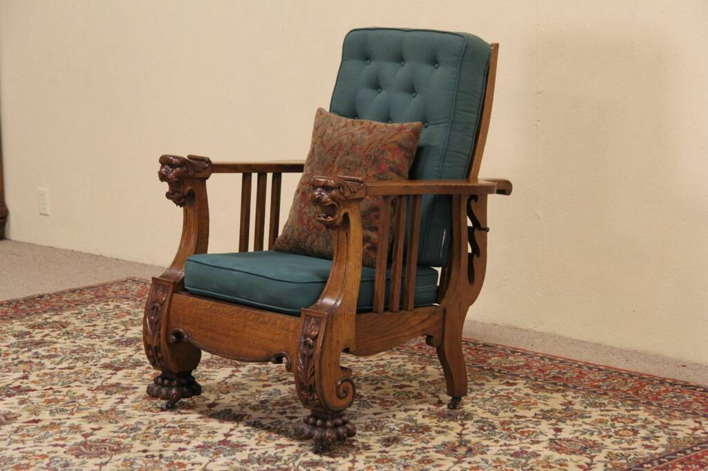antique reclining chair morris reclining chair 1900 antique carved oak 1296