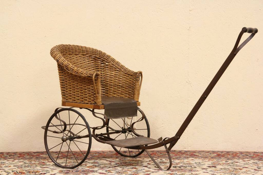 Sold Wicker Child 1910 Antique Pull Chair Carriage
